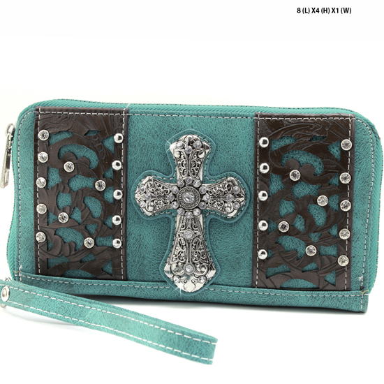 AK-245-TURQ - WHOLESALE WOMENS WESTERN BUCKLE WALLET