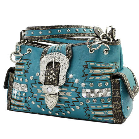 AZT-893-TURQ - WHOLESALE WESTERN PURSES
