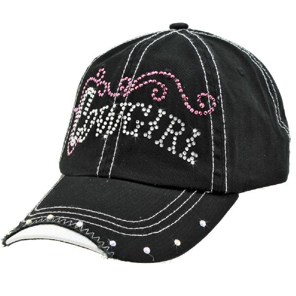 RS-COWGIRL-BLACK - WHOLESALE RHINESTONE COWGIRL CAP/BASEBALL CAPS