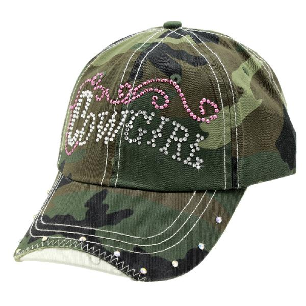 RS-COWGIRL-CAMO-GREEN - WHOLESALE RHINESTONE COWGIRL CAP/BASEBALL CAPS