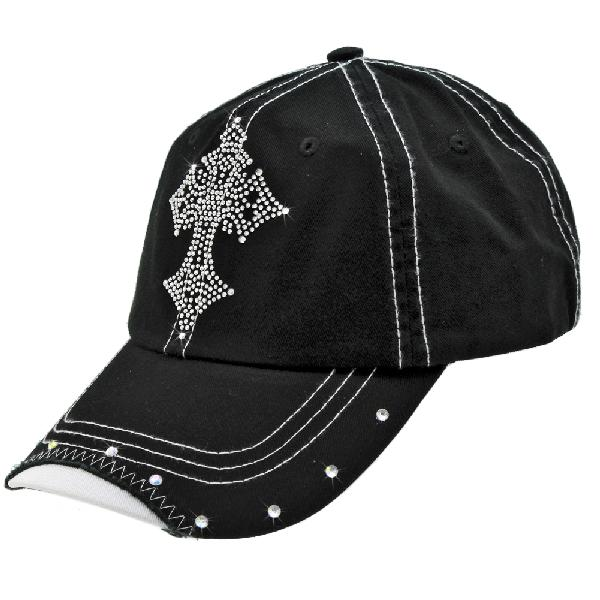 RS-CR3-BLACK - WHOLESALE RHINESTONE BILL BASEBALL CAPS
