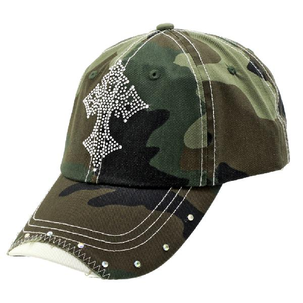RS-CR3-CAMO-GREEN - WHOLESALE RHINESTONE BILL BASEBALL CAPS