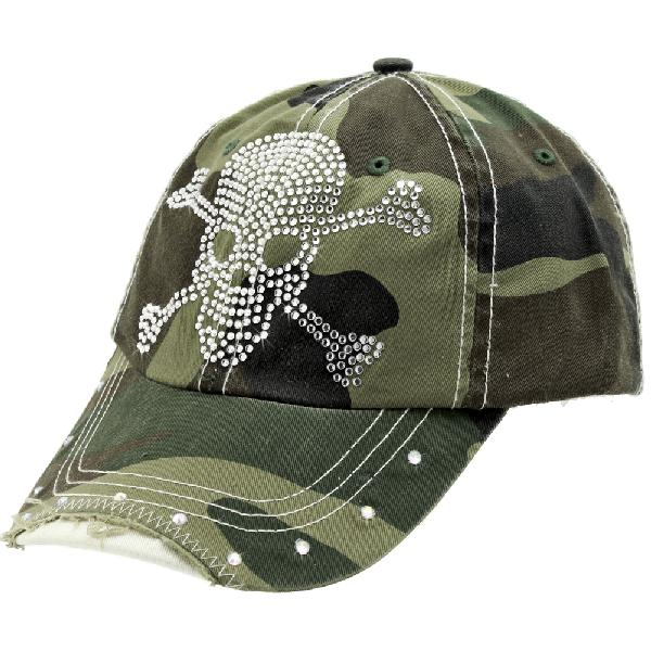 RS-SKULL-CAMO-GREEN - WHOLESALE RHINESTONE BILL BASEBALL CAPS