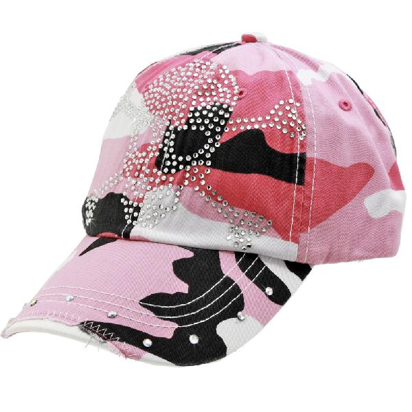 RS-SKULL-CAMO-PINK - WHOLESALE RHINESTONE BILL BASEBALL CAPS