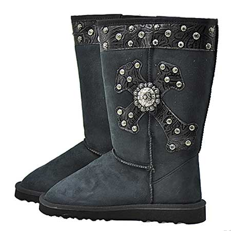CR-8203-BLACK - WHOLESALE RHINESTONE WINTER BOOTS