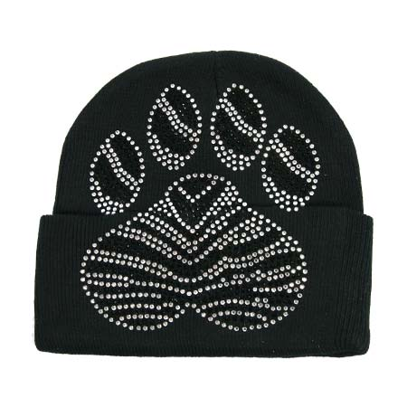 BEAN-PAW-BLACK - WHOLESALE RHINESTONED BEANIES/CAPS
