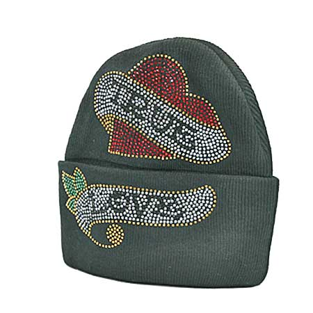 BEAN-T-LOVE-BK - WHOLESALE RHINESTONED BEANIES/CAPS