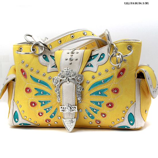 BFU4-846--SUNFLOWER - WHOLESALE WESTERN RHINESTONE HANDBAGS