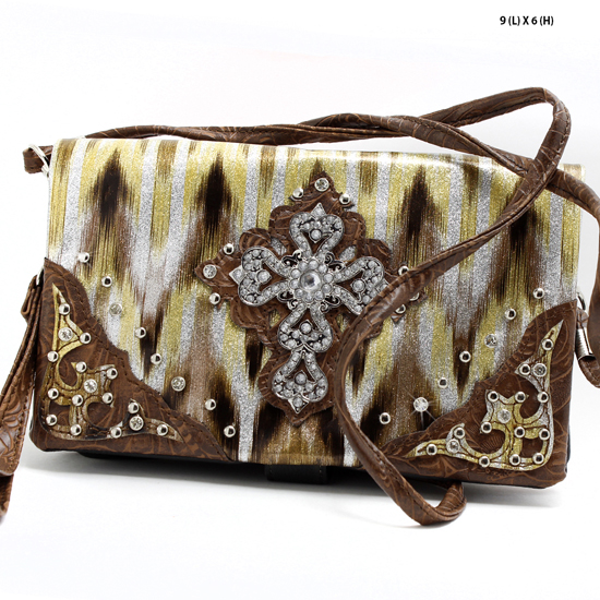 LCR-10G064-757-BRO-BRO - WHOLESALE WRISTLET/CLUTCH/CROSS BODY HIPSTER PURSE