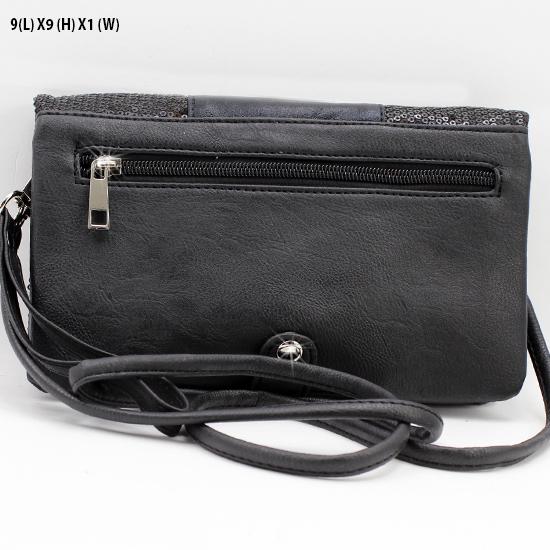 BG757-FLEUR-BLK-PUR - WHOLESALE FLEUR DE LIS WRISTLET/CLUTCH/CROSS BODY HIPSTER BAGS