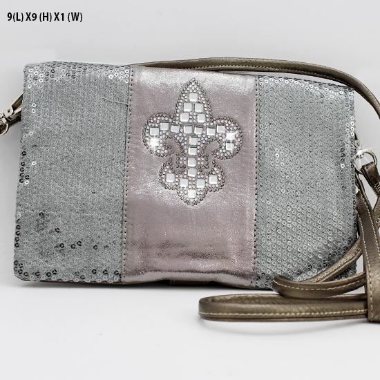 BG757-FLEUR-PEW-PEW - WHOLESALE FLEUR DE LIS WRISTLET/CLUTCH/CROSS BODY HIPSTER BAGS