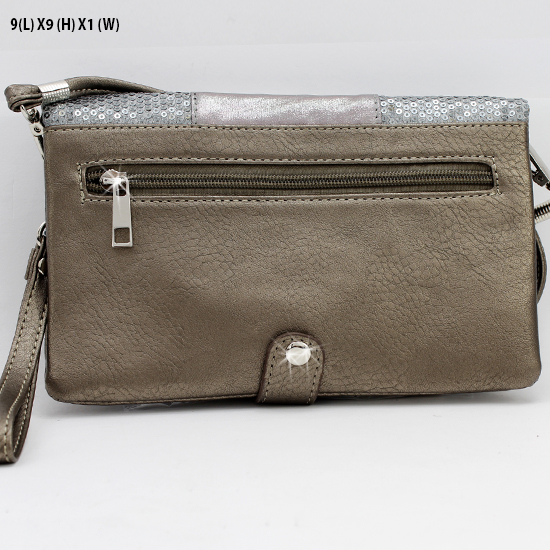 BG757-CROSS-PEWTER-PEW - WHOLESALE CROSS WRISTLET/CLUTCH/CROSS BODY HIPSTER BAGS