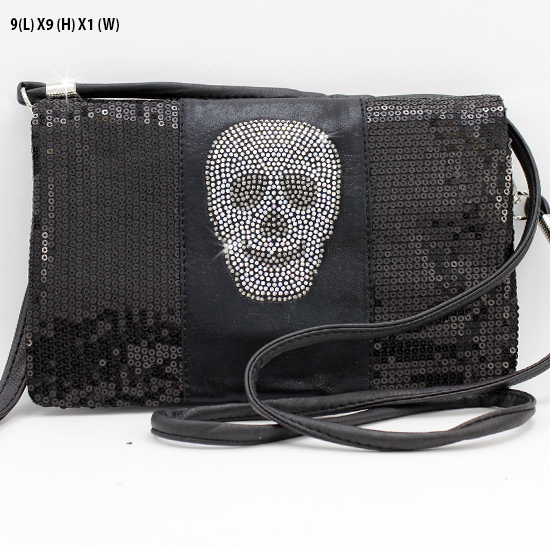 BG757-SKULL-BLK - WHOLESALE SKULL WRISTLET/CLUTCH/CROSS BODY HIPSTER BAGS