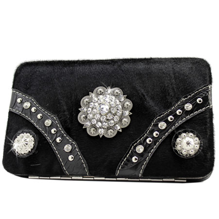 HIDE-090H-BLACK - WHOLESALE FLAT WALLETS/OPERA STYLE METAL FRAME