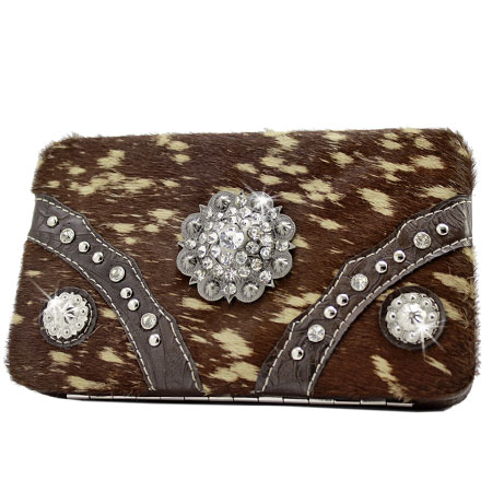 HIDE-090H-BROWN - WHOLESALE FLAT WALLETS/OPERA STYLE METAL FRAME