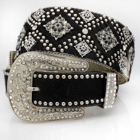 XXL-1088-WT-BRIN-BLACK - WHOLESALE WESTERN RHINESTONE STUDDED BELTS