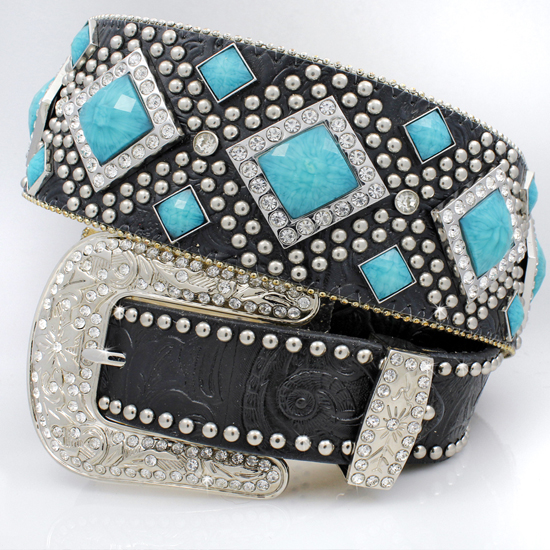 1209-BLACK-TQ - WHOLESALE WESTERN RHINESTONE STUDDED BELTS