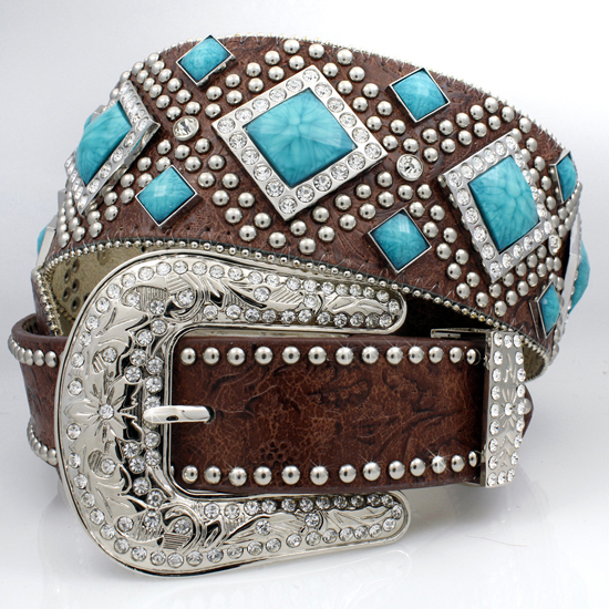 XXL-1209-BROWN-TQ - WHOLESALE WESTERN RHINESTONE STUDDED BELTS