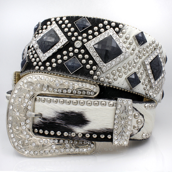 XXL-1209-WT-BRIN-BLACK - WHOLESALE WESTERN RHINESTONE STUDDED BELTS