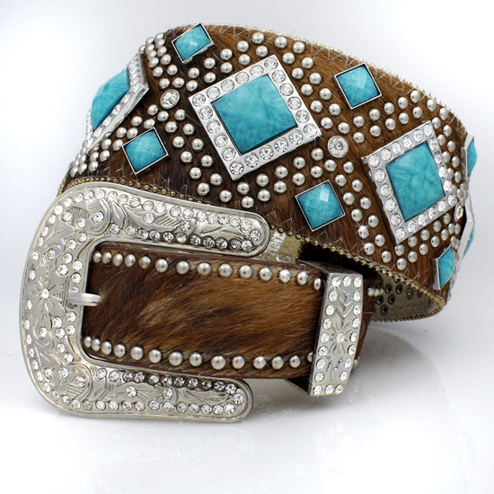 XXL-1209-BROWN-BRIN-TQ - WHOLESALE WESTERN RHINESTONE STUDDED BELTS