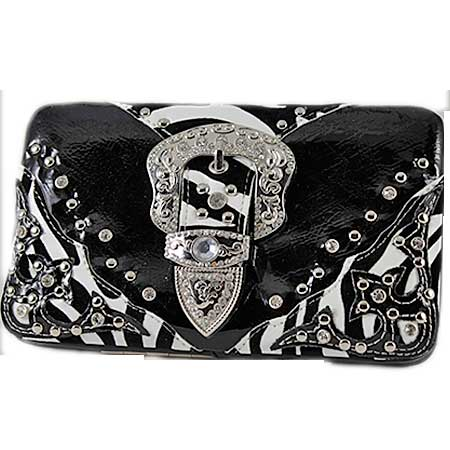 BKLE--RAFZ-305-BLACK - RHINESTONE BLING WALLETS