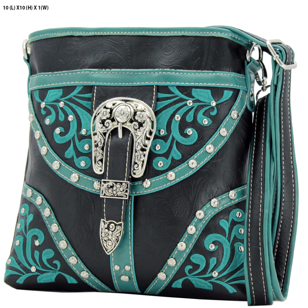BKLE-38-BLACK - BKLE-38-BLACK WESTERN RHINESTONE BUCKLE STUDDED CROSS BODY MESSENGER HANDBAGS