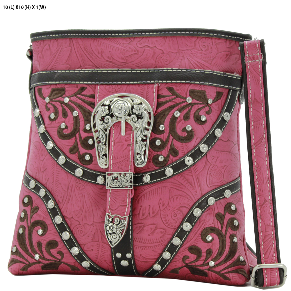 BKLE-38-PINK - BKLE-38-PINK WESTERN RHINESTONE BUCKLE STUDDED CROSS BODY MESSENGER HANDBAGS