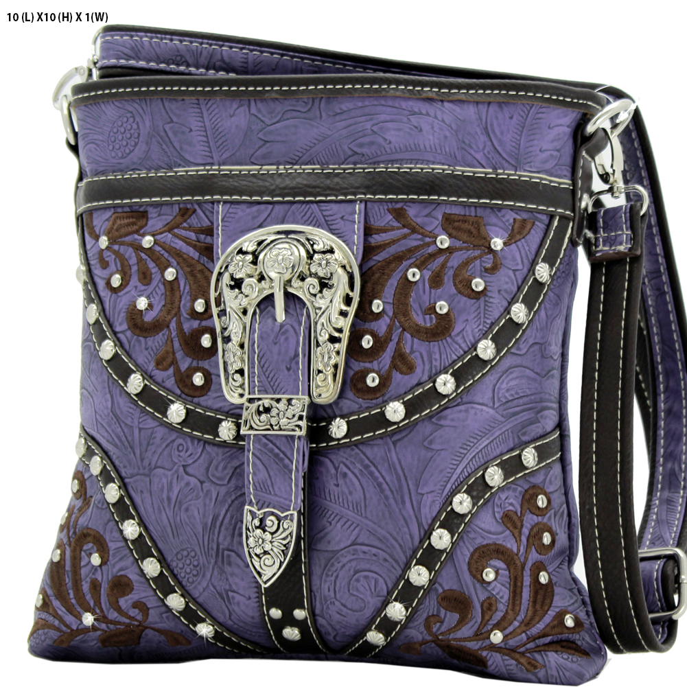 BKLE-38-PURPLE - BKLE-38-PURPLE WESTERN RHINESTONE BUCKLE STUDDED CROSS BODY MESSENGER HANDBAGS
