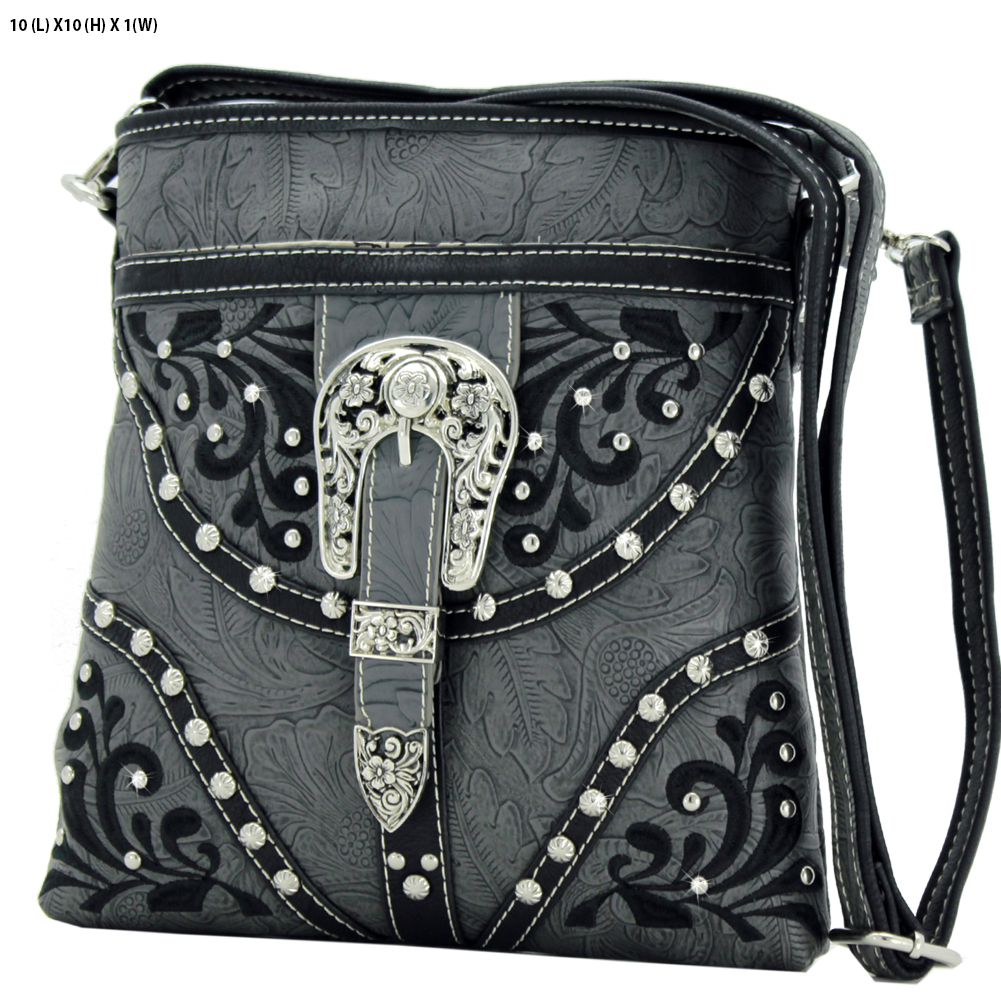 BKLE-38-PEWTER - BKLE-38-PEWTER WESTERN RHINESTONE BUCKLE STUDDED CROSS BODY MESSENGER HANDBAGS