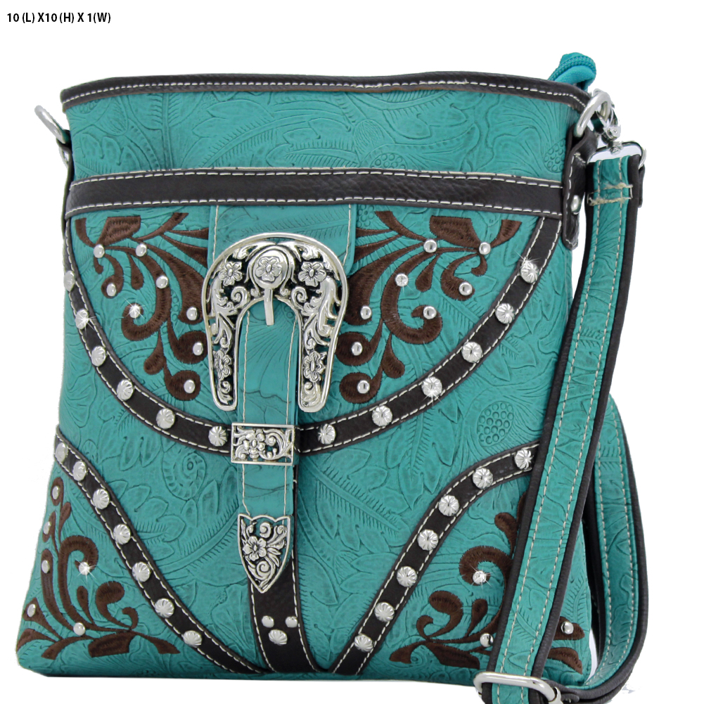 BKLE-38-TURQ - BKLE-38-TURQ WESTERN RHINESTONE BUCKLE STUDDED CROSS BODY MESSENGER HANDBAGS