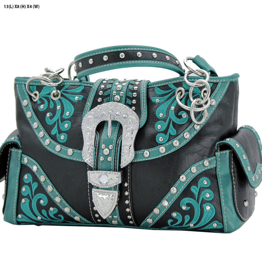 Rhinestone Buckle Purses - BKLE-93-BLACK Western Concealed Carry Weapon Buckle Handbags Embroidered Purses