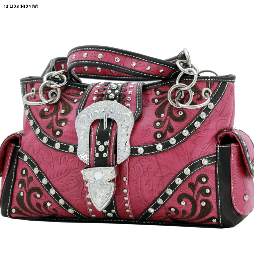 Rhinestone Buckle Purses - BKLE-93-PINK Western Concealed Carry Weapon Buckle Handbags Embroidered Purses