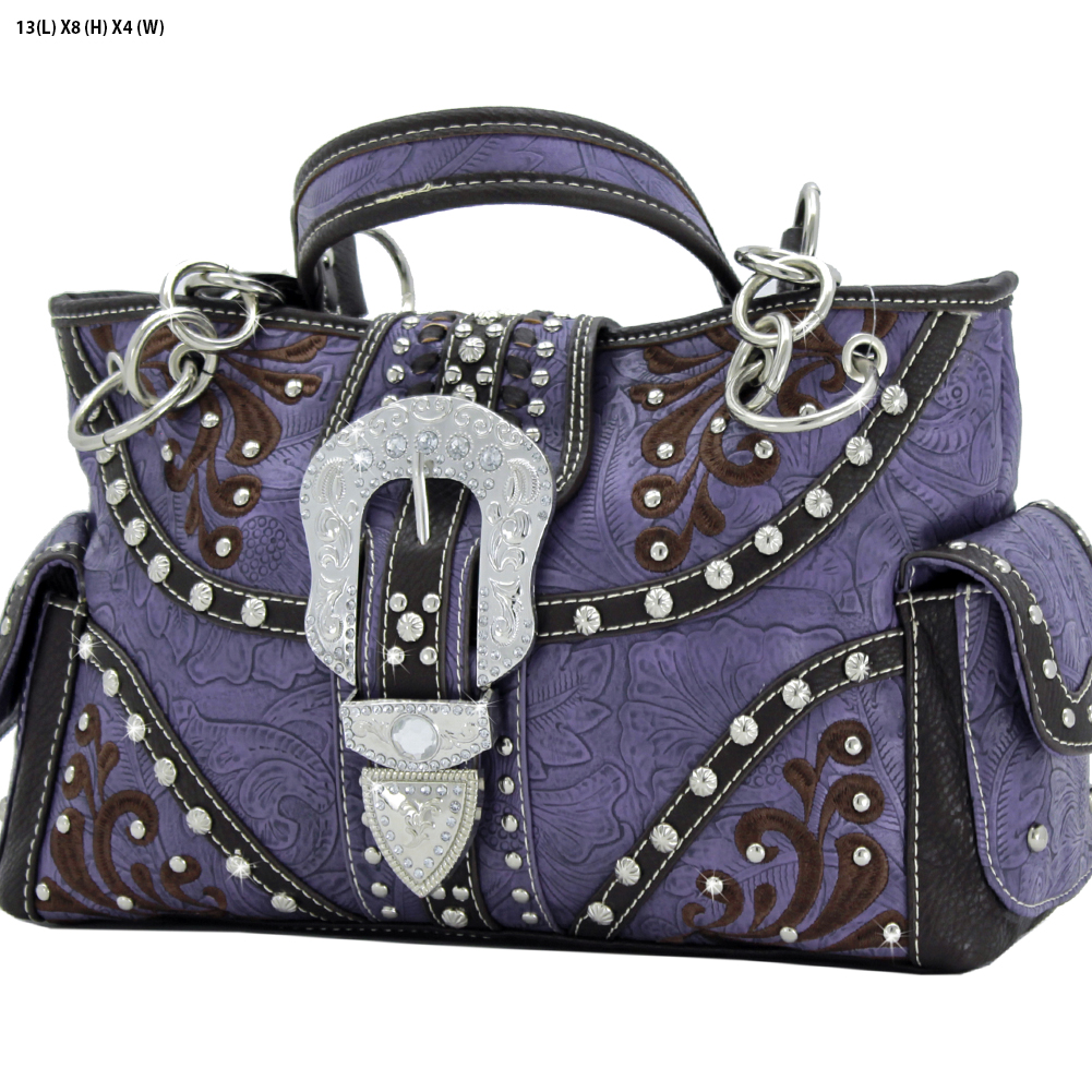 Rhinestone Buckle Purses - BKLE-93-PURPLE Western Concealed Carry Weapon Buckle Handbags Embroidered Purses
