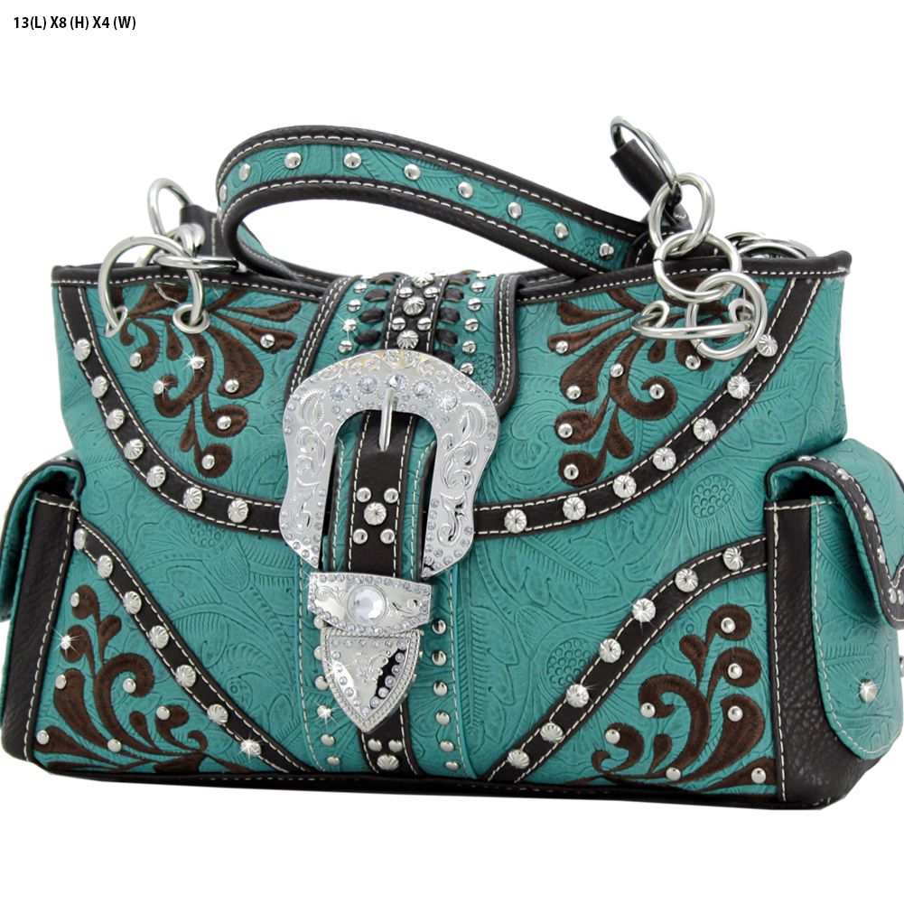 Rhinestone Buckle Purses - BKLE-93-TURQ Western Concealed Carry Weapon Buckle Handbags Embroidered Purses