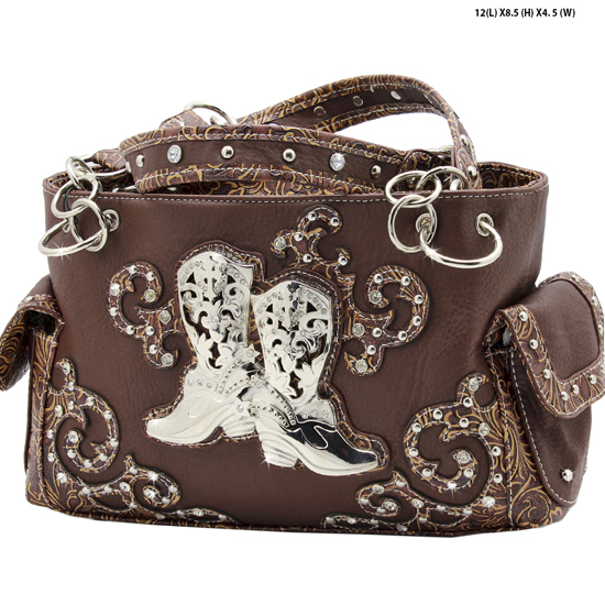 BOO3-8479-BROWN - WESTERN RHINESTONE HANDBAGS