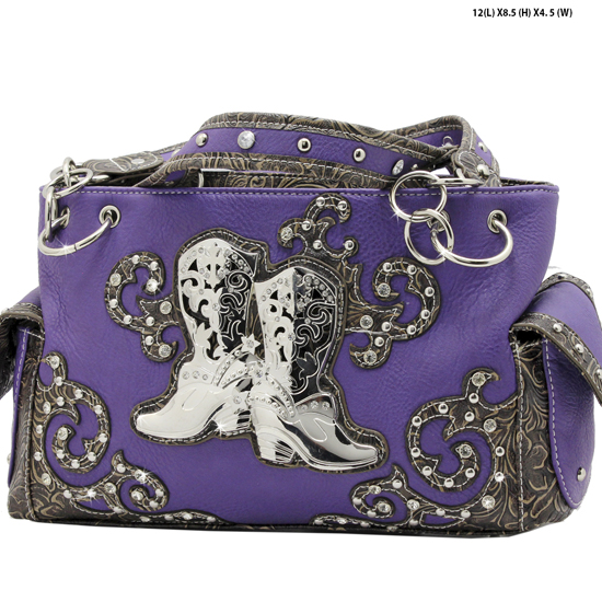 BOO3-8479-PURPLE - WESTERN RHINESTONE HANDBAGS