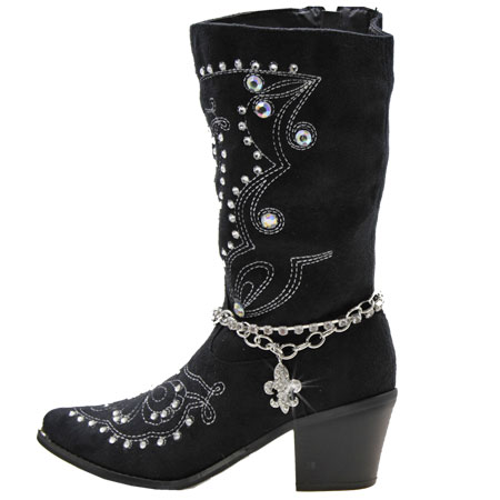 BOOT-CHAIN--FLEUR - WHOLESALE WESTERN CRYSTAL STUDDED BOOT CHAIN