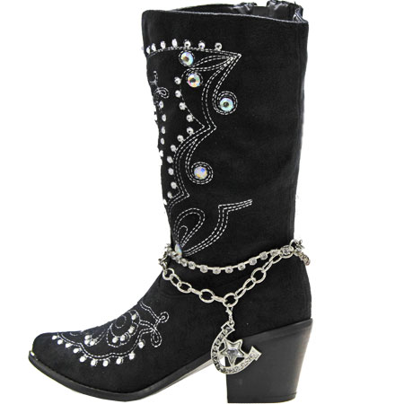 BOOT-CHAIN--STAR - WHOLESALE WESTERN CRYSTAL STUDDED BOOT CHAIN