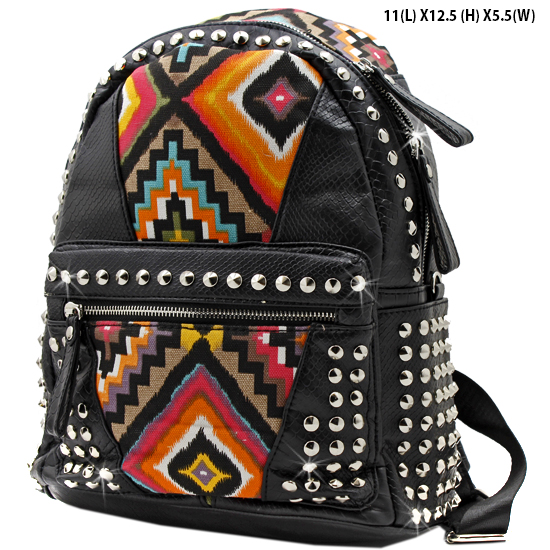 BP-105-T-BLACK - WHOLESALE BACKPACKS-SEQUIN AZTEC PRINT BACKPACK