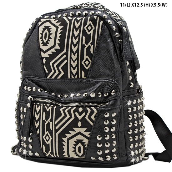 BP-105-T-MINT - WHOLESALE BACKPACKS-SEQUIN AZTEC PRINT BACKPACK