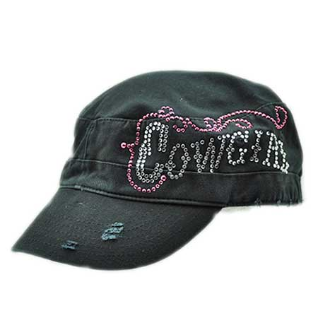 CAD-COWGIRL-BLACK - WHOLESALE COWGIRL RHINESTONE CADET  CAPS/HATS