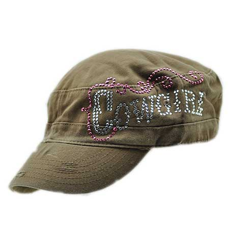 CAD-COWGIRL-BROWN - WHOLESALE COWGIRL RHINESTONE CADET  CAPS/HATS