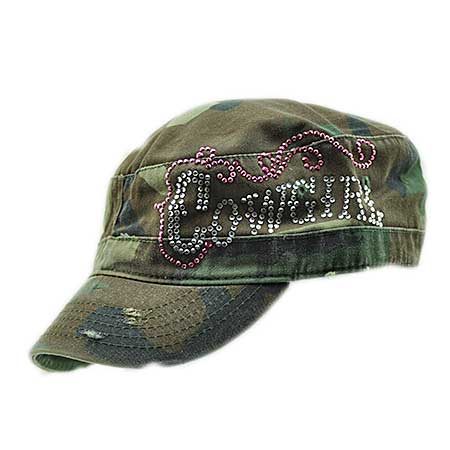 CAD-COWGIRL-CAMO - WHOLESALE COWGIRL RHINESTONE CADET  CAPS/HATS