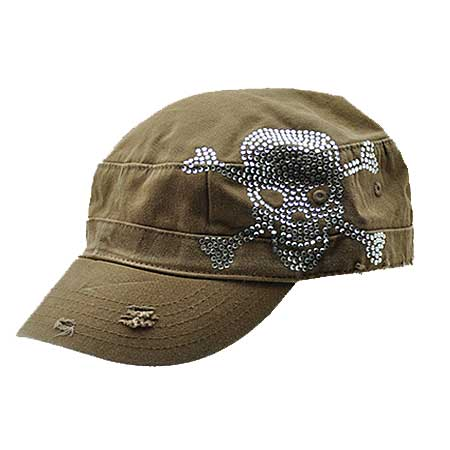 CAD-SKULL-BROWN - WHOLESALE RHINESTONE TATTOO/TATTOOED SKULL CADETS/CAPS