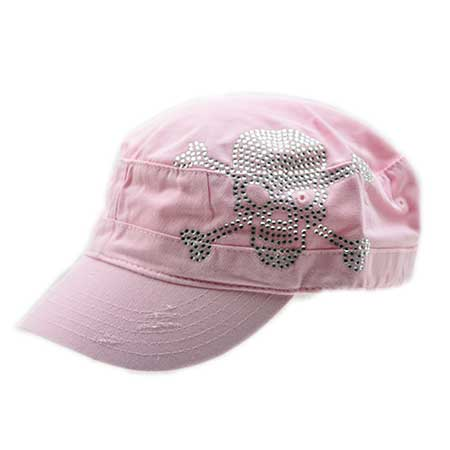 CAD-SKULL-PINK - WHOLESALE SKULL AND BONES RHINESTONE CADET  CAPS/HATS