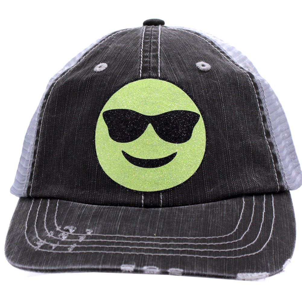 black and grey trucker cap with a green smiling emoji with sunglasses
