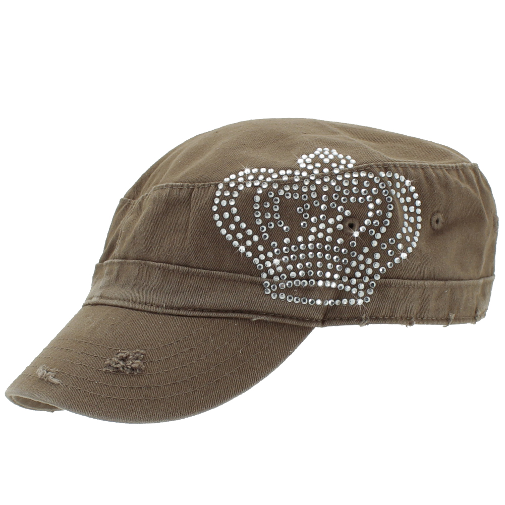 CAD-CROWN-BLACK - CAD-CROWN-BLACK WHOLESALE COWGIRL RHINESTONE CADET CAPS/HATS