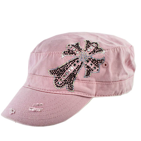 CAD-109-PINK-PK - WHOLESALE RHINESTONE CROSS CADET STYLE CAPS