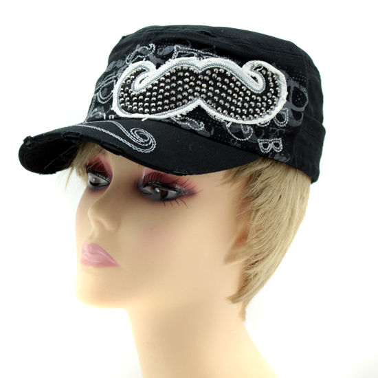 CAD-NEW--MUSTCH-BLK - WHOLESALE RHINESTONE MILITARY CADET STYLE CAPS
