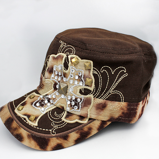 CAD-NEW-LEO-BROWN - WHOLESALE RHINESTONE CROSS CADET STYLE CAPS